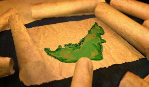 Verenigde arabische emiraten kaart schilderen uitvouwen oude document scroll 3d