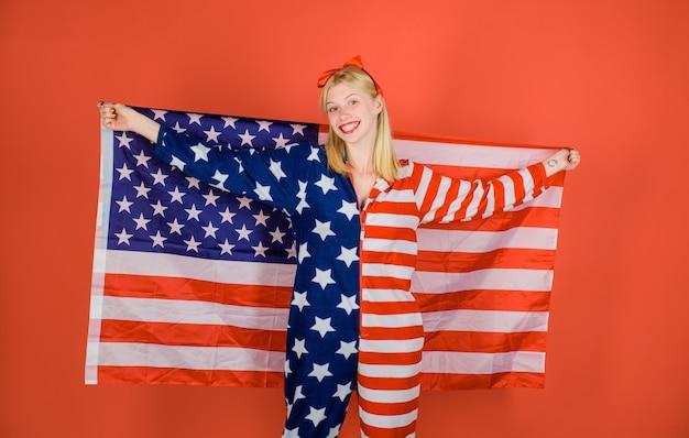 Verenigde staten van amerika vlag amerikaanse vlag th juli amerikaanse usa vlag mode meisje met amerikaanse