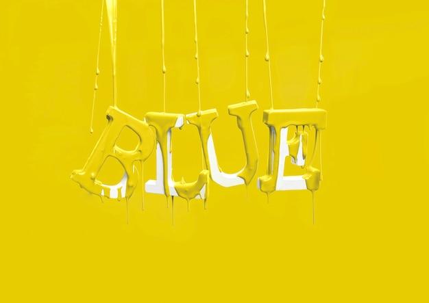 Verf die op drijvend woordblauw druipt