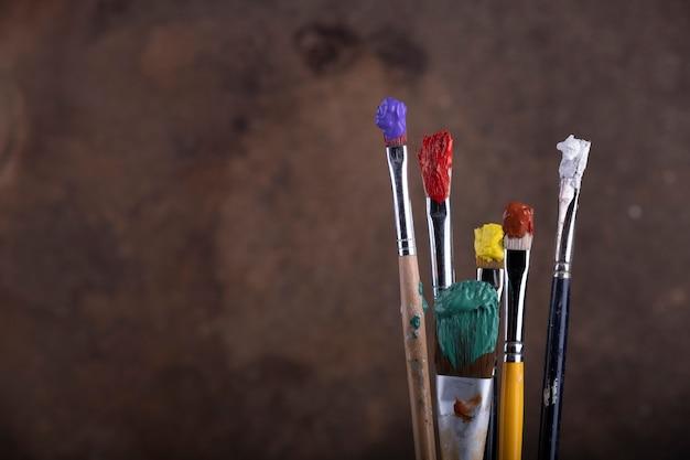 Verfborstels voor vage canvasachtergrond