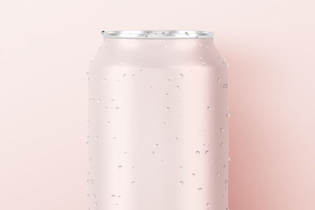 Verfrissend roze blikje frisdrank met waterdruppels