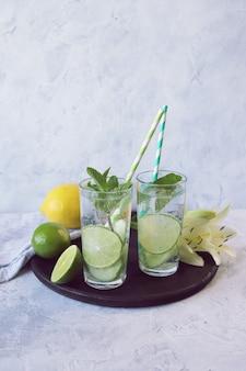 Verfrissende detox-drankjes gemaakt van citroenen, ijskomkommers, limoen en muntblaadjes