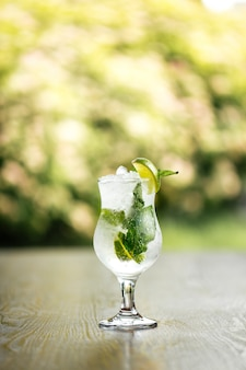Verfrissende koele mojito cocktail met ijs en munt