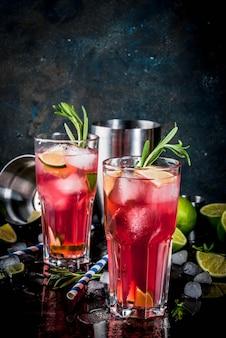 Verfrissing alcoholische rode cranberry en limoen cocktail met rozemarijn en ijs, twee glazen, donkere oppervlakte kopie ruimte