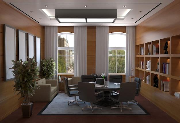 Vergaderruimte, vergaderruimte, interieurvisualisatie, 3d illustratie
