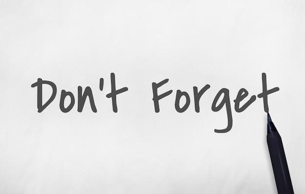Vergeet het grafische concept van de herinneringswoorden niet