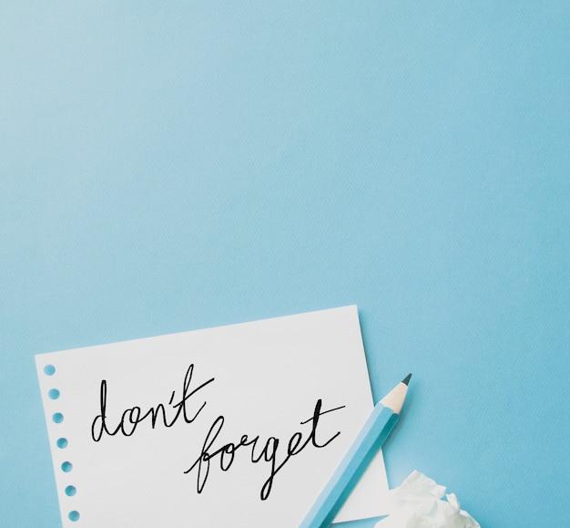 Vergeet notities niet