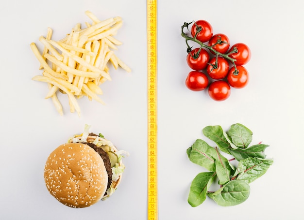 Vergelijking tussen gezond en fast food