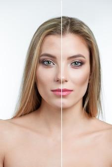 Vergelijking van een model met groene ogen zonder en met retouchering