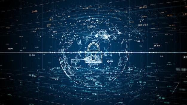 Vergrendelingspictogram van digitale gegevens van cyberbeveiliging, digitale gegevensnetwerkbescherming