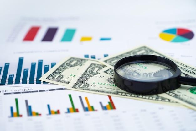 Vergrootglas en amerikaanse dollar bankbiljetten achtergrond: bankrekening, investment business.