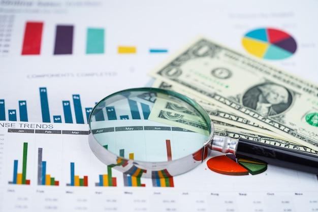 Vergrootglas en amerikaanse dollar bankbiljetten achtergrond: bankrekening.