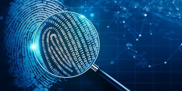 Vergrootglas en biometrische authenticatietechnologie met binaire code vingerafdruktechnologie