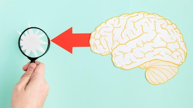 Vergrootglas en papier hersenvorm