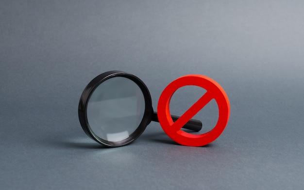 Vergrootglas en symbool no. vind de informatie die u nodig hebt, verbiedt en geheimhouding