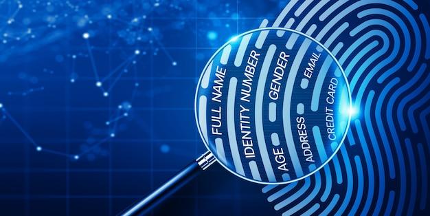 Vergrootglas en vingerafdruk met persoonlijke informatie. digitale vingerafdruktechnologie, digitale verificatietoegang en biometrische authenticatietechnologieconcept. 3d-weergave.