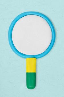 Vergrootglas klei icoon schattig handgemaakte marketing creatieve ambachtelijke afbeelding