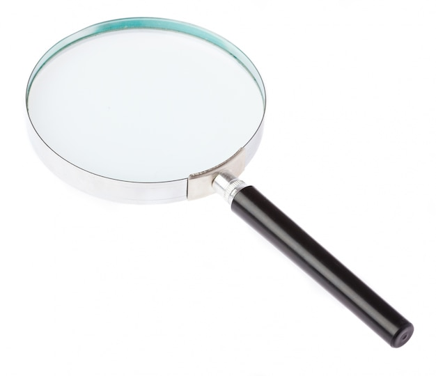 Vergrootglas met witte achtergrond