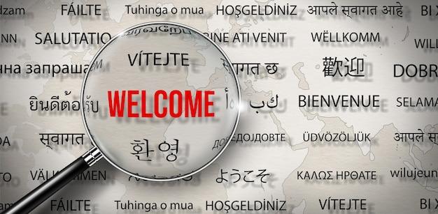 Vergrootglas met word of welcome in verschillende talen words cloud concept
