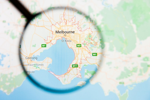 Vergrootglas op de kaart van australië