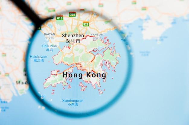 Vergrootglas op de kaart van china