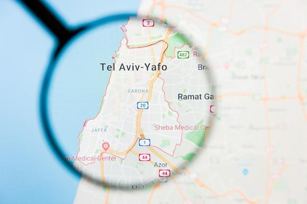 Vergrootglas op de kaart van israël