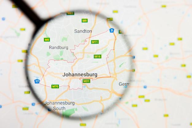 Vergrootglas op de kaart van zuid-afrika