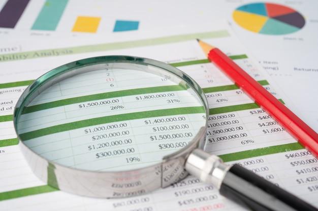 Vergrootglas op grafieken grafieken papier.