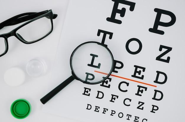 Vergrootglas over een selectie van letters