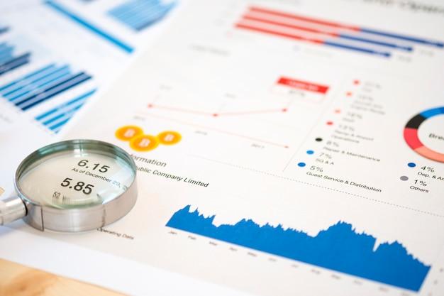 Vergrootglasglas en financiële gegevens op het bureau van de zakenman voor analyse en vind de beste aandelen op de beurs.