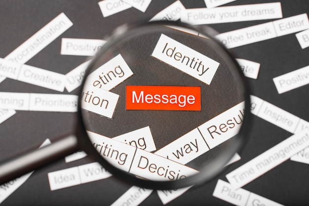 Vergrootglasglas over het rode inscriptiebericht dat uit papier is gesneden. omringd door andere inscripties op een donkere achtergrond. word cloud concept. detailopname