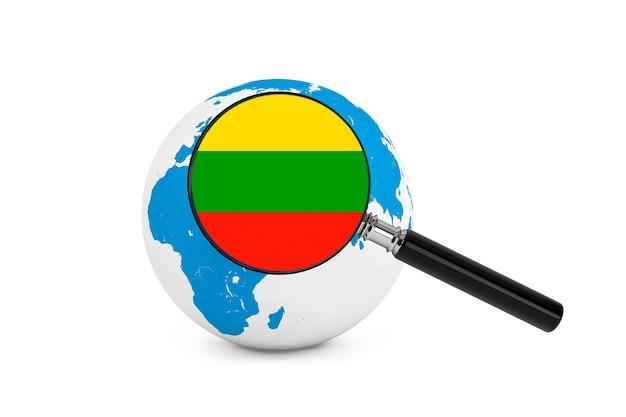 Vergrote vlag van litouwen met earth globe op een witte achtergrond