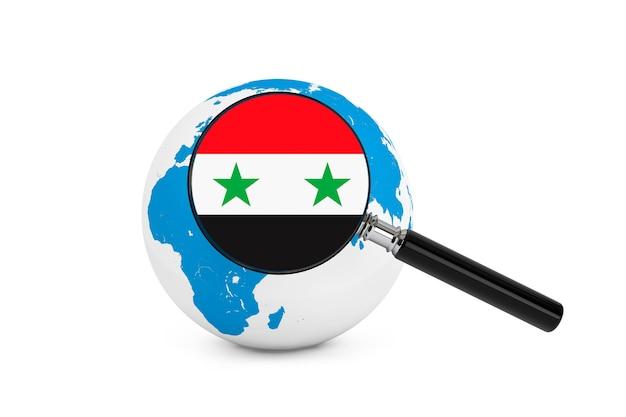 Vergrote vlag van syrië met earth globe op een witte achtergrond