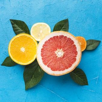 Vergrote weergave van grapefruit citroen en sinaasappel