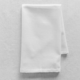 Vergrote weergave van witte vaatdoek met kopie ruimte