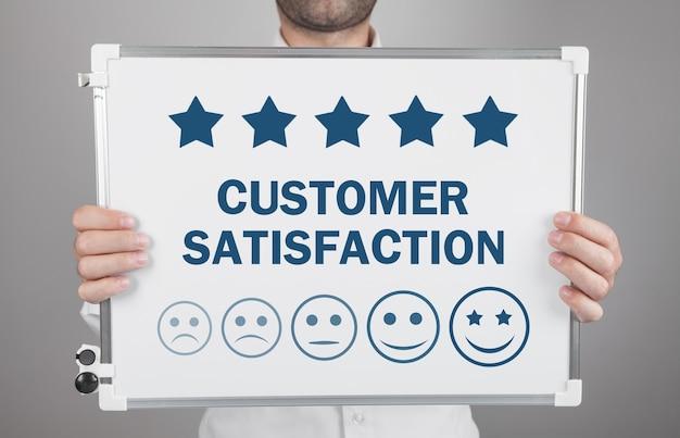 Verhoog de beoordeling van het bedrijf. klanttevredenheid concept