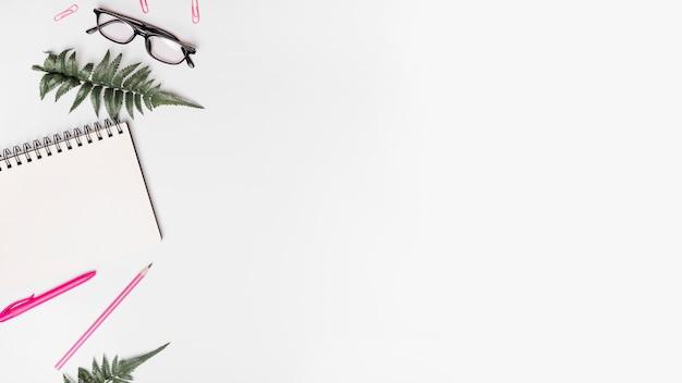 Verhoogde mening van spiraalvormige blocnote; pen; potlood; kunstmatige varens; bril en paperclips op witte achtergrond