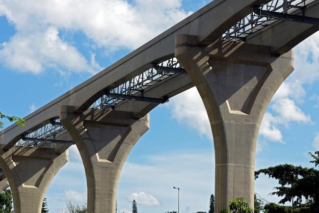 Verhoogde monorailweg in aanbouw