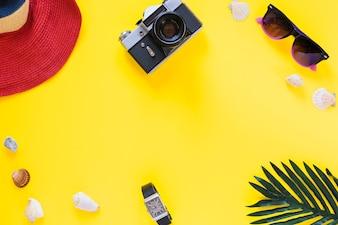 Verhoogde weergave van hoed; camera; zonnebril; zeeschelpen; pols en palmtak op geel oppervlak