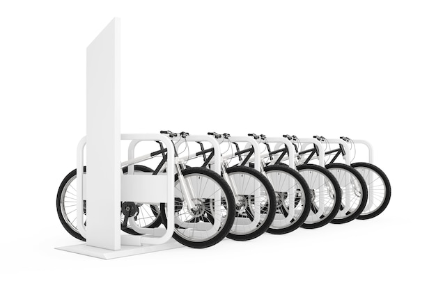 Verhuur fietsen concept. rij van moderne mountainbikes bij parking of rent station op een witte achtergrond. 3d-rendering
