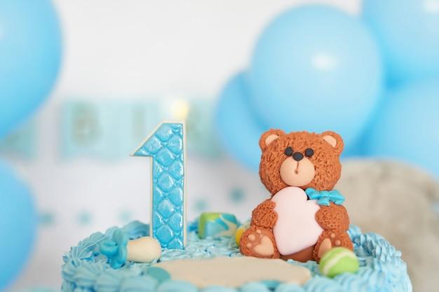 Verjaardag 1 jaar cake smash decor blauwe kleur