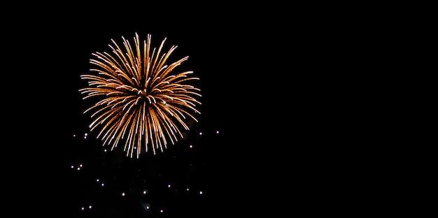 Verjaardag en festival vuurwerk op nachtelijke hemel
