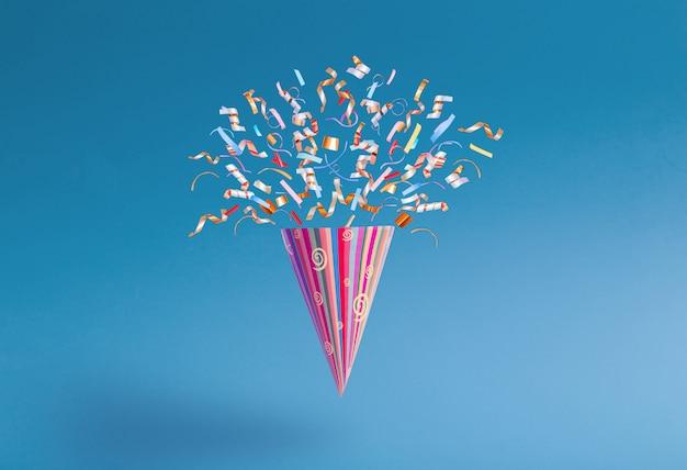 Verjaardag hoed met confetti op papier achtergrond
