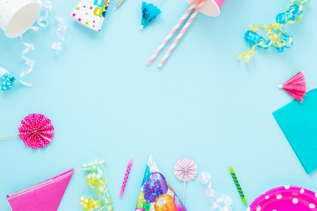 Verjaardag objecten frame met kopie ruimte