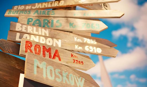 Verkeers verkeersbord inclusief moskou, roma, londen, berlijn, parijs, rio de janeiro op blauwe hemelachtergrond in retro stijl