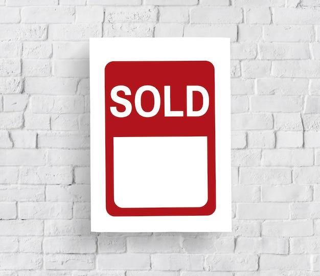 Verkocht banner kennisgeving verkoopconcept