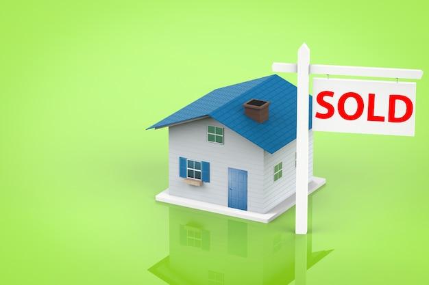Verkocht huisbord met mock-up huis
