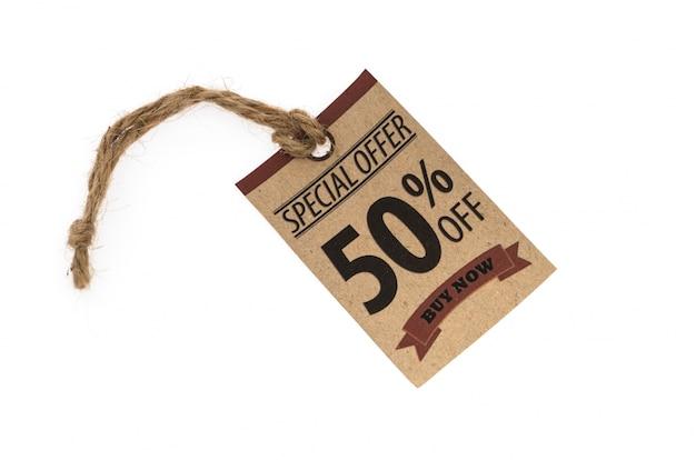 Verkoop coupon, voucher, tag. vintage-stijl