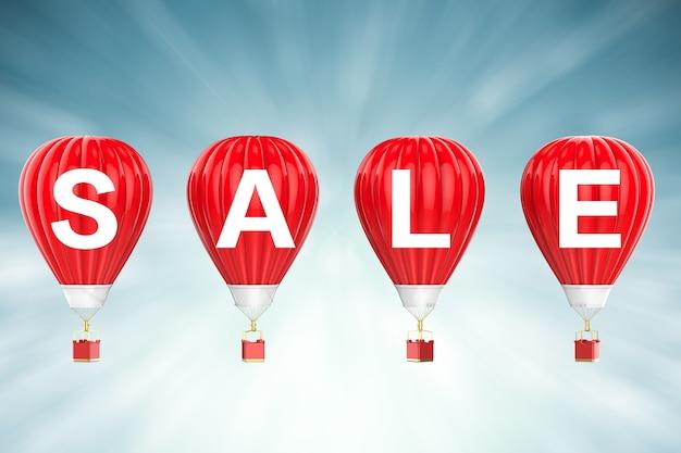 Verkoop teken op 3d-rendering rode hete lucht ballonnen