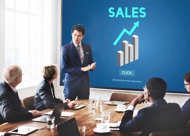 Verkoop verkoop verkoop commercie kosten winst retail concept